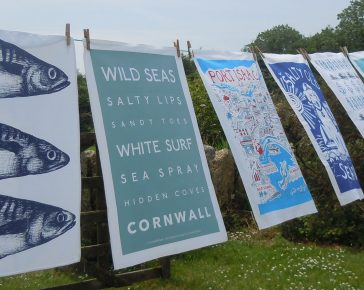 Washing line printed tea towels