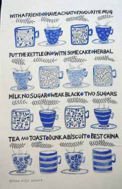 Tea cup tea towel